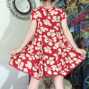 silence + noise Dresses - Silence & Noise Red Flowy Rayon Dress